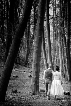 Wedding in the bluebell wood at Jimmy's Farm.